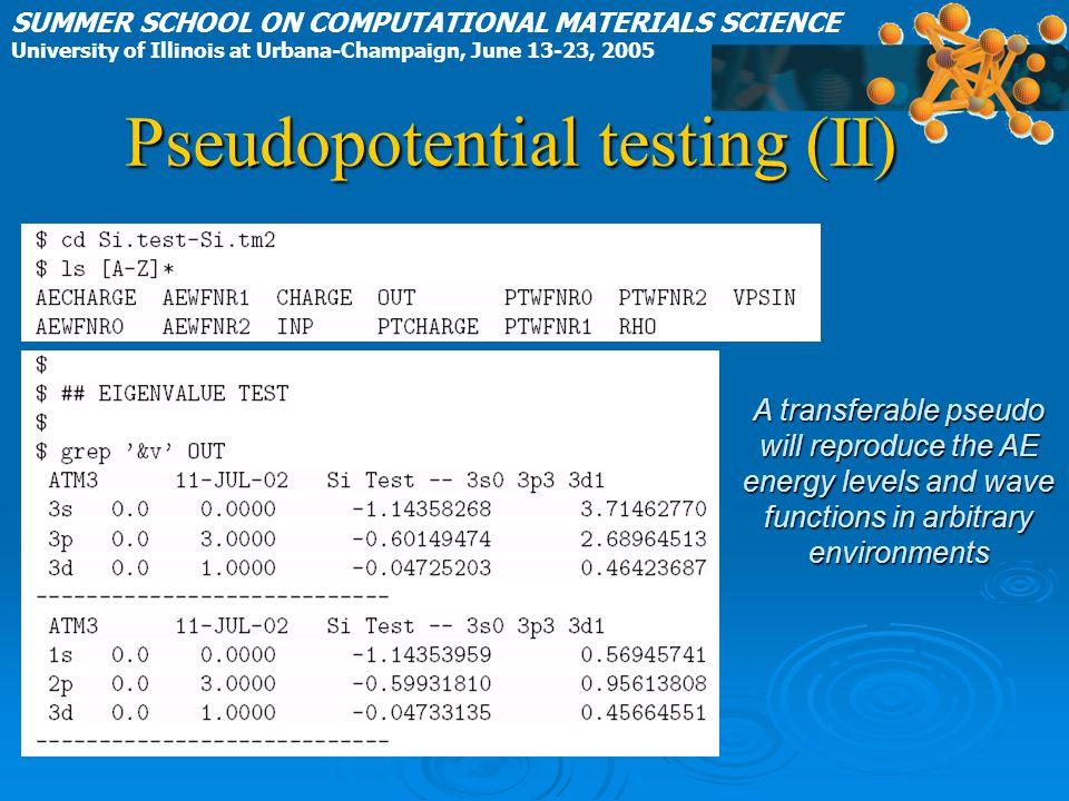 SUMMER SCHOOL ON COMPUTATIONAL MATERIALS SCIENCE University of Illinois at Urbana-Champaign, June 13-23, 2005 Pseudopotential testing (II) A transfera