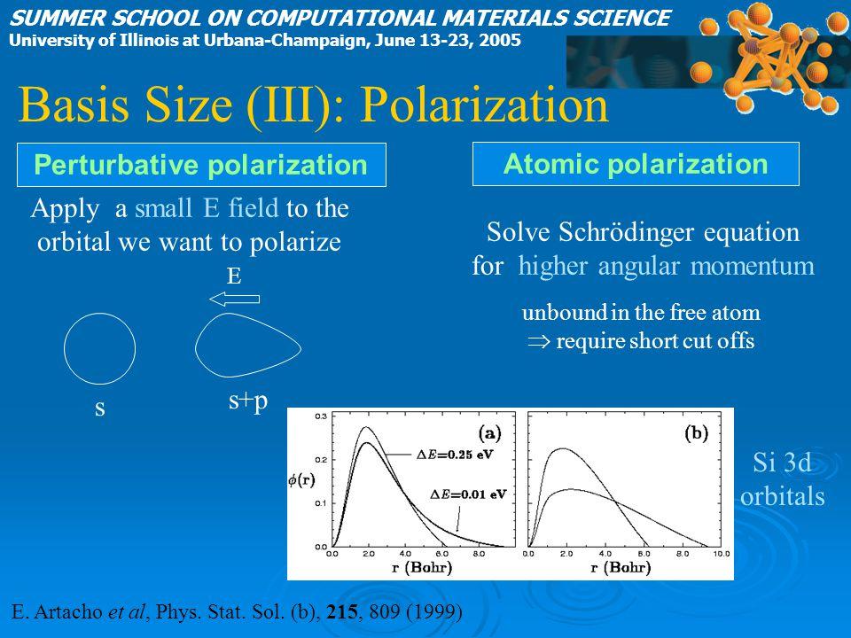 E. Artacho et al, Phys. Stat. Sol. (b), 215, 809 (1999) Atomic polarization Perturbative polarization Apply a small E field to the orbital we want to