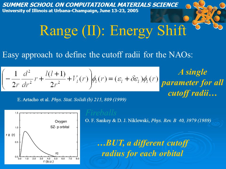 Fireballs O. F. Sankey & D. J. Niklewski, Phys. Rev. B 40, 3979 (1989) E. Artacho et al. Phys. Stat. Solidi (b) 215, 809 (1999) SUMMER SCHOOL ON COMPU