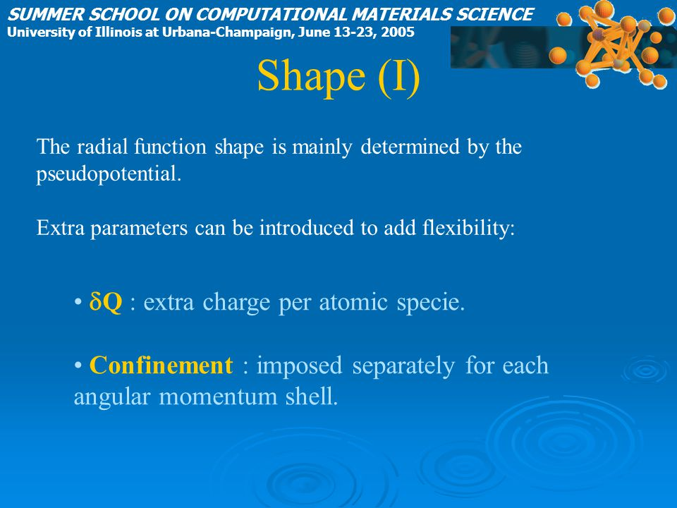 Shape (I) SUMMER SCHOOL ON COMPUTATIONAL MATERIALS SCIENCE University of Illinois at Urbana-Champaign, June 13-23, 2005  Q : extra charge per atomic