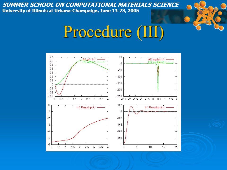 Procedure (III) SUMMER SCHOOL ON COMPUTATIONAL MATERIALS SCIENCE University of Illinois at Urbana-Champaign, June 13-23, 2005