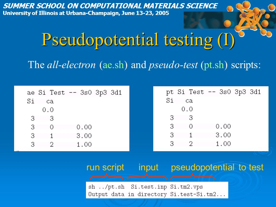 Pseudopotential testing (I) SUMMER SCHOOL ON COMPUTATIONAL MATERIALS SCIENCE University of Illinois at Urbana-Champaign, June 13-23, 2005 The all-electron (ae.sh) and pseudo-test (pt.sh) scripts: run scriptinputpseudopotential to test