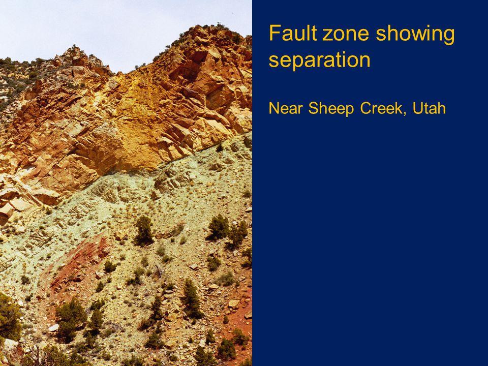 Fault zone showing separation Near Sheep Creek, Utah
