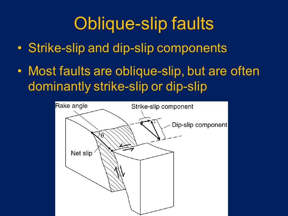 Oblique-slip faults Strike-slip and dip-slip components Most faults are oblique-slip, but are often dominantly strike-slip or dip-slip