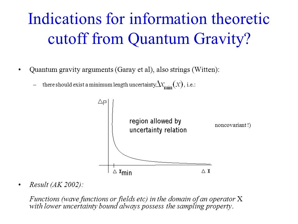 Indications for information theoretic cutoff from Quantum Gravity.