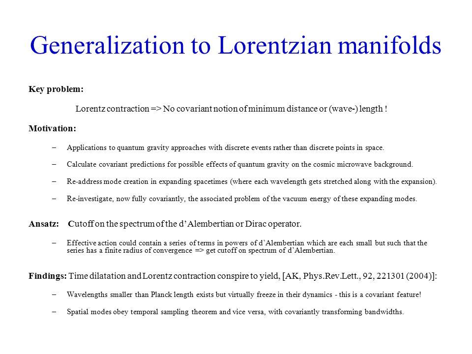 Sampling theory of the manifold itself, i.e., sampling of the metric tensor.