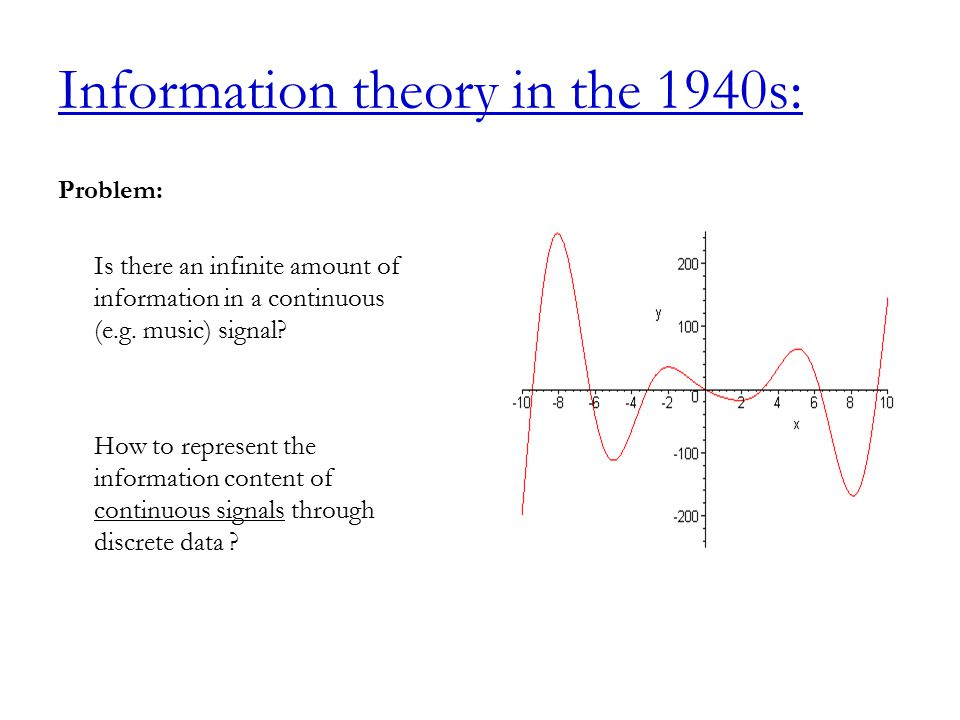 Information theory in the 1940s: Problem: Is there an infinite amount of information in a continuous (e.g.