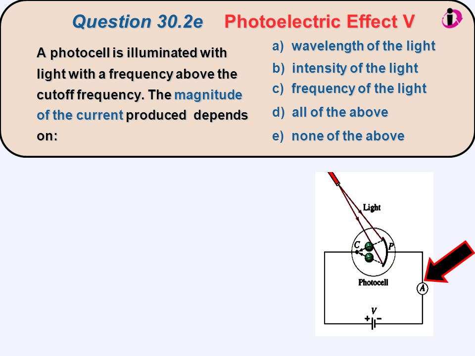 Question 30.2ePhotoelectric Effect V Question 30.2e Photoelectric Effect V A photocell is illuminated with light with a frequency above the cutoff frequency.