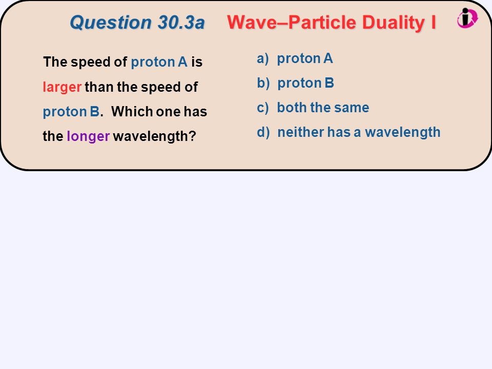 Question 30.3a Wave–Particle Duality I The speed of proton A is larger than the speed of proton B.