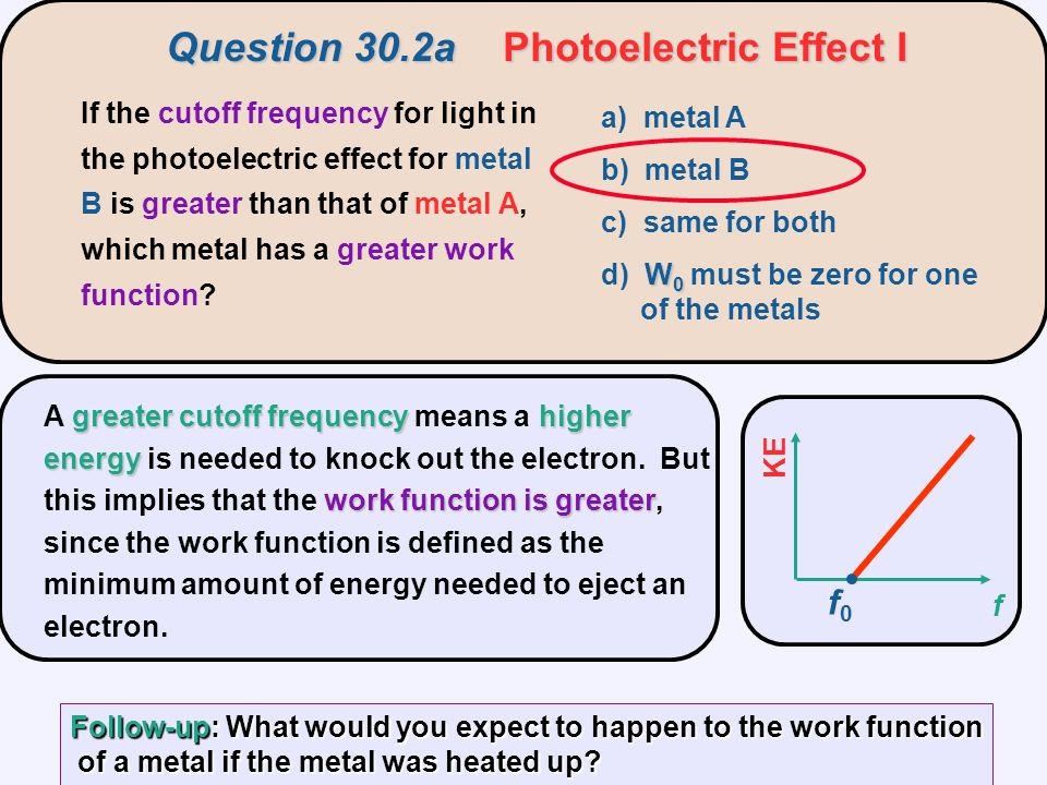 greatercutoff frequencyhigher energy work function is greater A greater cutoff frequency means a higher energy is needed to knock out the electron.