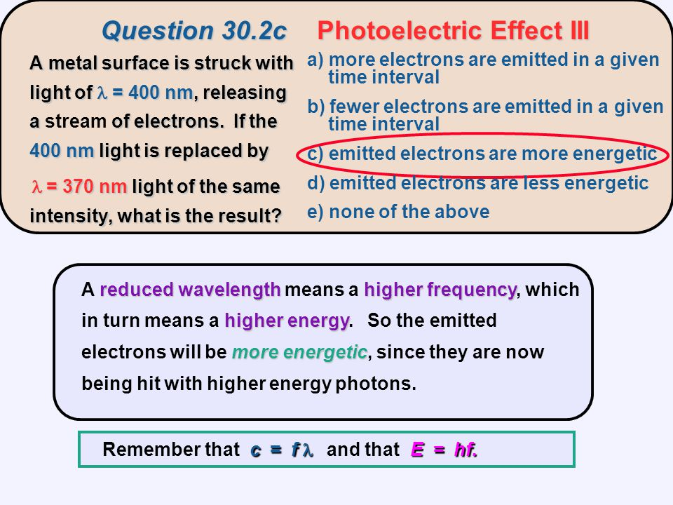 reducedwavelengthhigherfrequency higher energy more energetic A reduced wavelength means a higher frequency, which in turn means a higher energy.