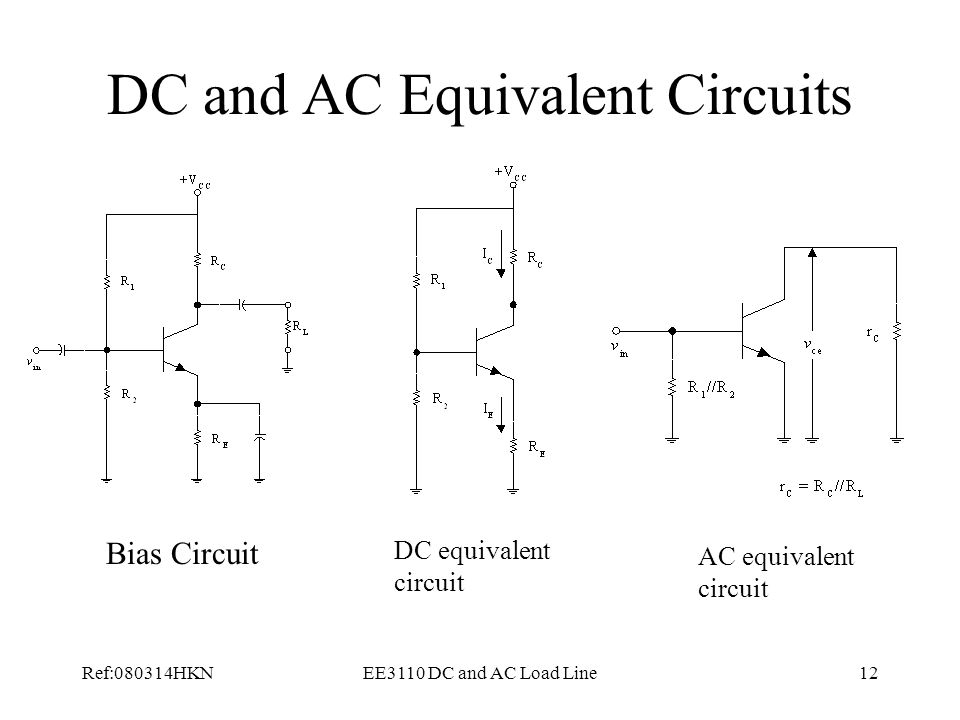 Ref:080314HKNEE3110 DC and AC Load Line12 DC and AC Equivalent Circuits Bias Circuit DC equivalent circuit AC equivalent circuit