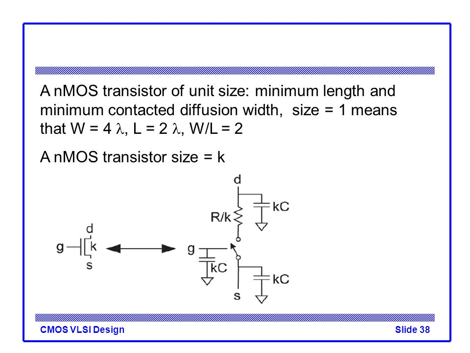 CMOS VLSI DesignSlide 38 A nMOS transistor of unit size: minimum length and minimum contacted diffusion width, size = 1 means that W = 4, L = 2, W/L =