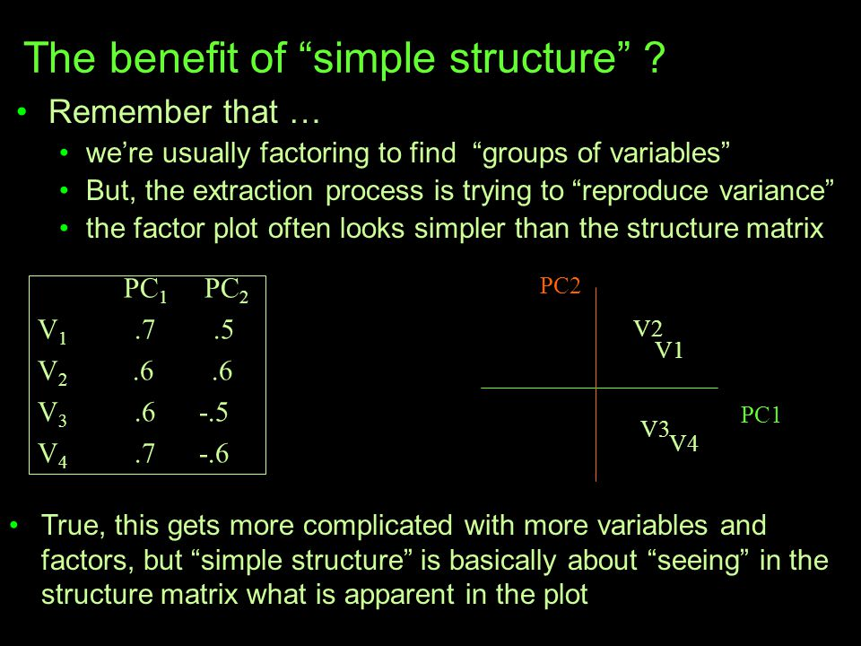 """The benefit of """"simple structure"""" ? Remember that … we're usually factoring to find """"groups of variables"""" But, the extraction process is trying to """"re"""
