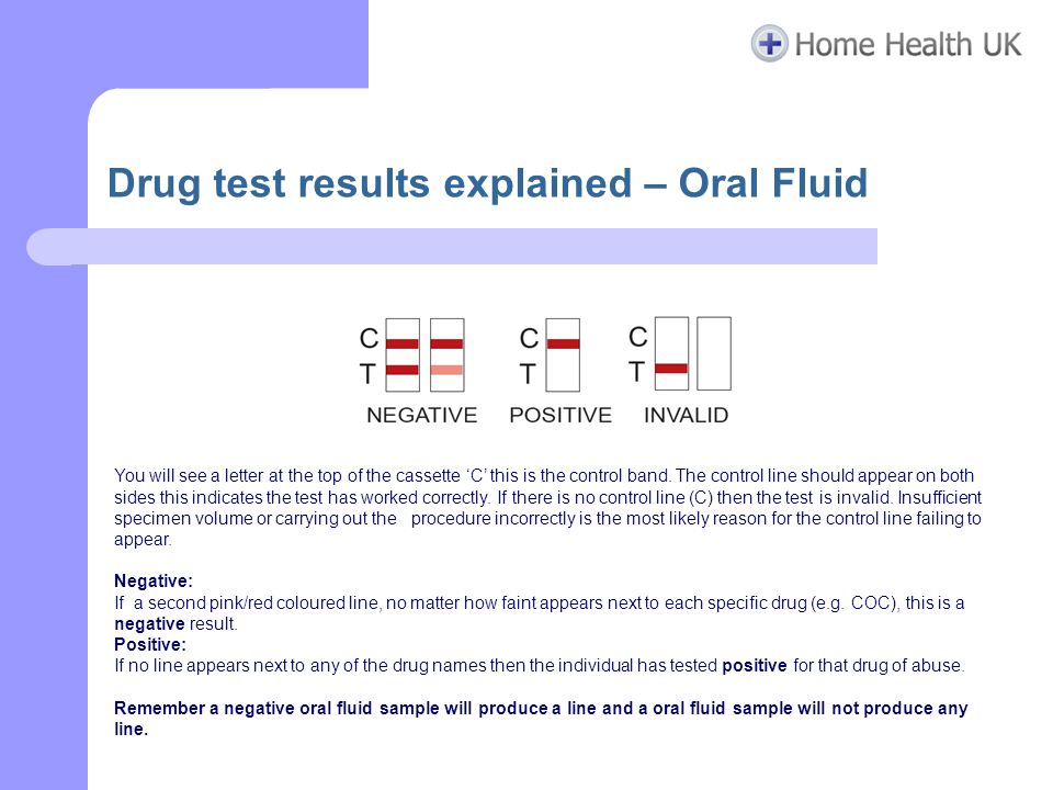 Drug test results explained – Oral Fluid You will see a letter at the top of the cassette 'C' this is the control band. The control line should appear