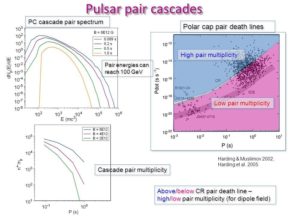 Pulsar pair cascades Polar cap pair death lines Harding & Muslimov 2002, Harding et al.
