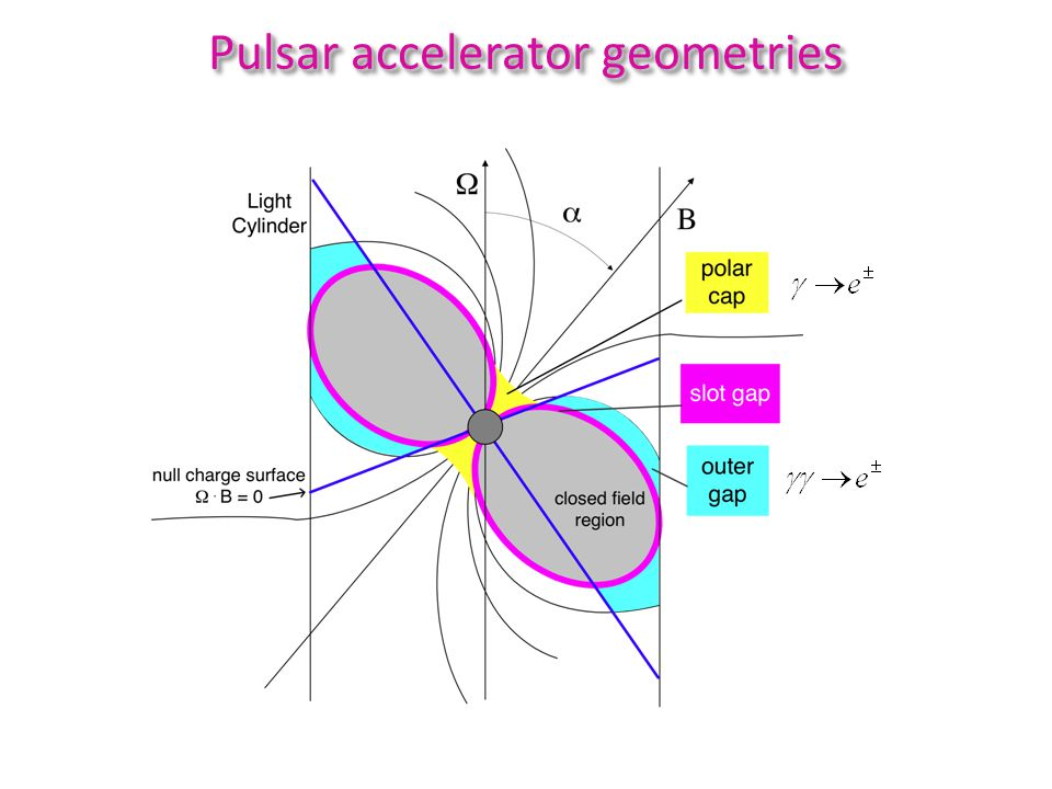 pair-starved polar cap slot gap / TPC Accelerator Geometries Narrow accelerators require screening of E field by pairs