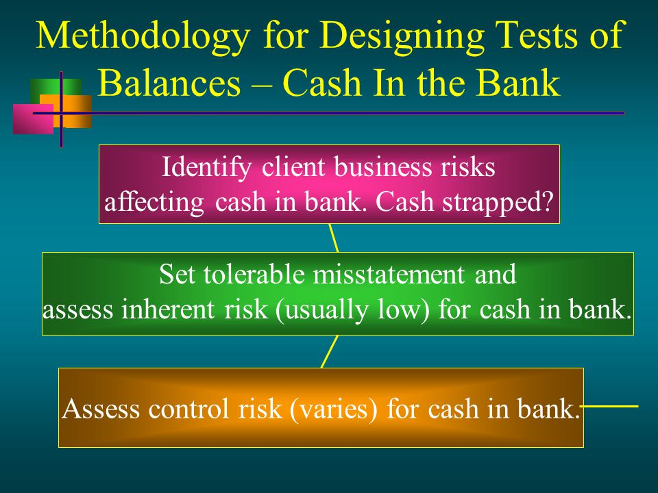 Methodology for Designing Tests of Balances – Cash In the Bank Identify client business risks affecting cash in bank.