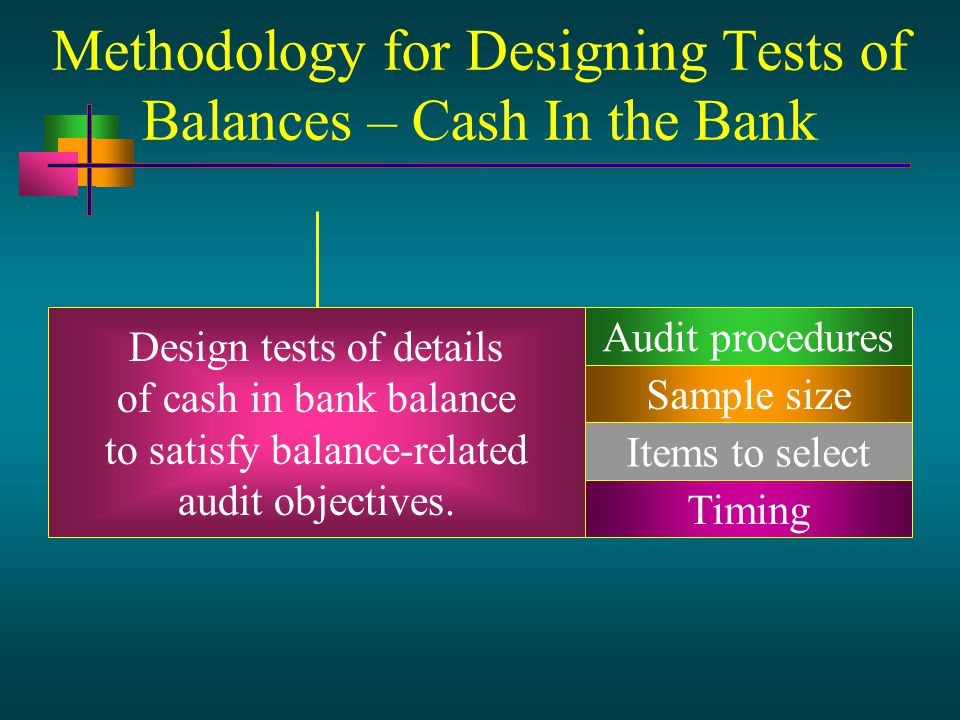 Methodology for Designing Tests of Balances – Cash In the Bank Design tests of details of cash in bank balance to satisfy balance-related audit objectives.