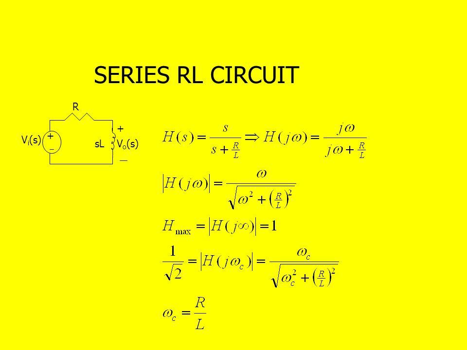 SERIES RL CIRCUIT + + sL R V i (s) V o (s)
