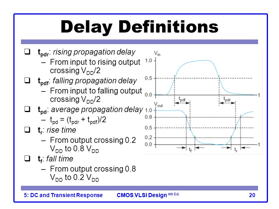 CMOS VLSI DesignCMOS VLSI Design 4th Ed. 5: DC and Transient Response20 Delay Definitions  t pdr : rising propagation delay –From input to rising out