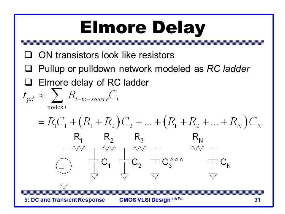CMOS VLSI DesignCMOS VLSI Design 4th Ed. 5: DC and Transient Response31 Elmore Delay  ON transistors look like resistors  Pullup or pulldown network
