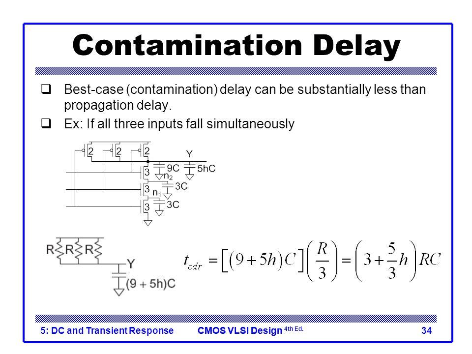 CMOS VLSI DesignCMOS VLSI Design 4th Ed. 5: DC and Transient Response34 Contamination Delay  Best-case (contamination) delay can be substantially les