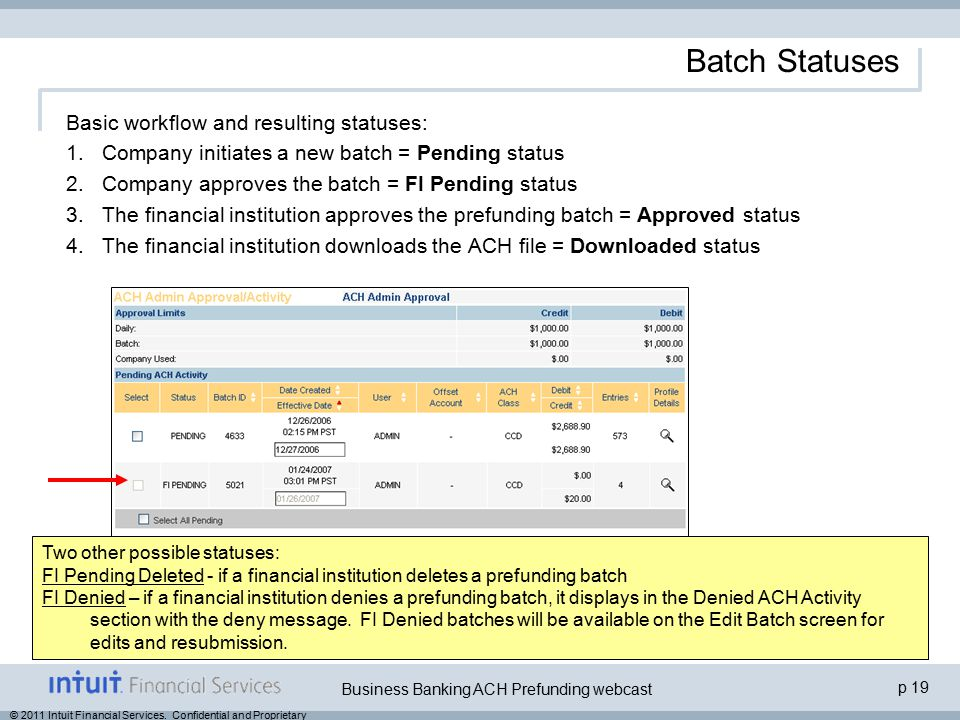 p 19 Business Banking ACH Prefunding webcast © 2011 Intuit Financial Services. Confidential and Proprietary Batch Statuses Basic workflow and resultin