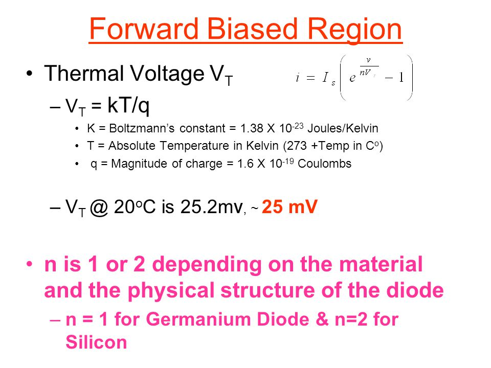 Thermal Voltage V T –V T = kT/q K = Boltzmann's constant = 1.38 X 10 -23 Joules/Kelvin T = Absolute Temperature in Kelvin (273 +Temp in C o ) q = Magn