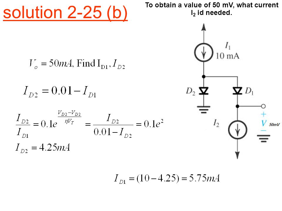 solution 2-25 (b) To obtain a value of 50 mV, what current I 2 id needed.