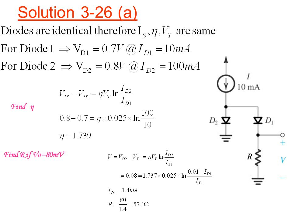 Solution 3-26 (a) Find η Find R if Vo=80mV