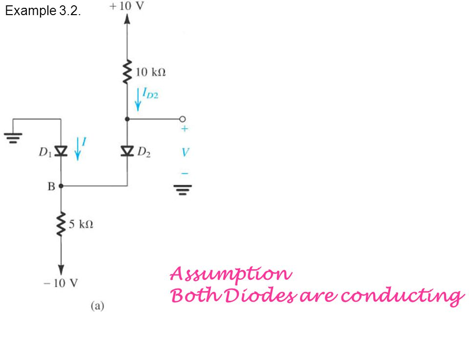 Example 3.2. Assumption Both Diodes are conducting