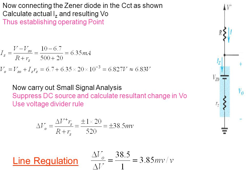 Line Regulation Now connecting the Zener diode in the Cct as shown Calculate actual I z and resulting Vo Thus establishing operating Point Now carry o