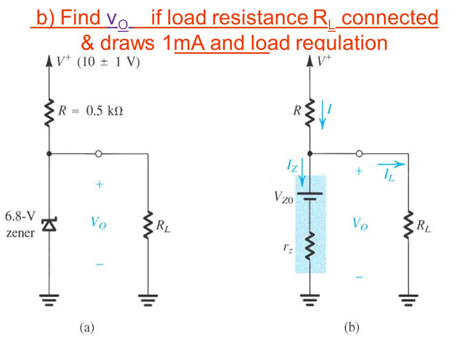 b) Find v O if load resistance R L connected & draws 1mA and load regulation