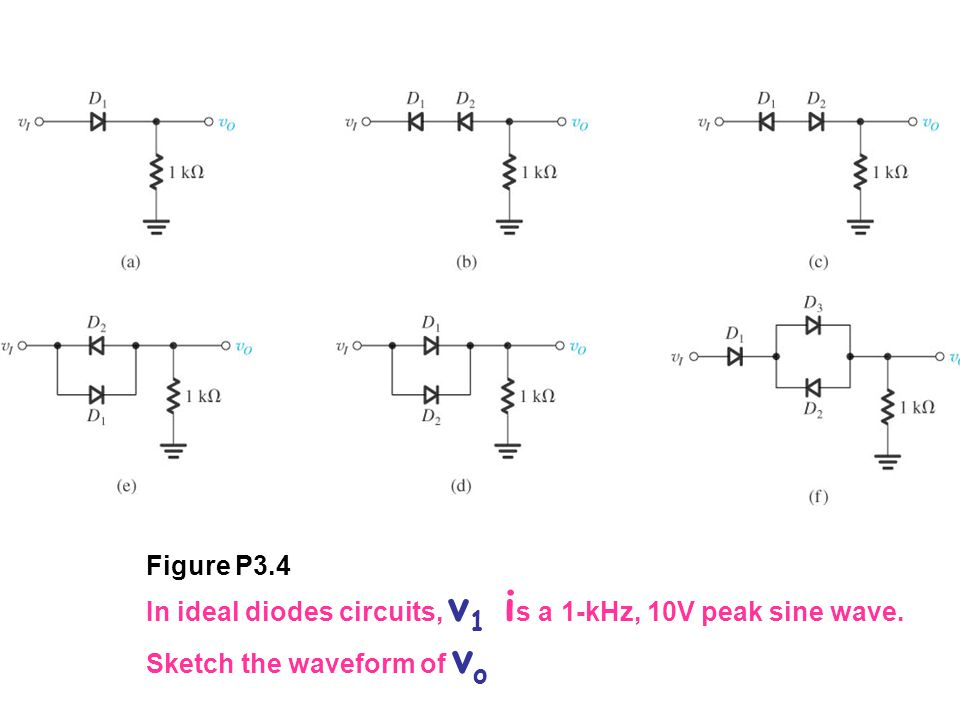 Figure P3.4 In ideal diodes circuits, v 1 i s a 1-kHz, 10V peak sine wave. Sketch the waveform of v o