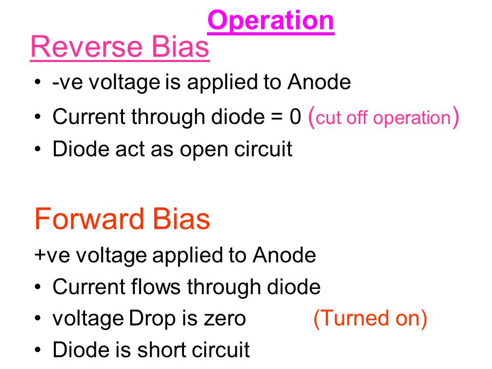 Reverse Bias -ve voltage is applied to Anode Current through diode = 0 ( cut off operation ) Diode act as open circuit Forward Bias +ve voltage applie