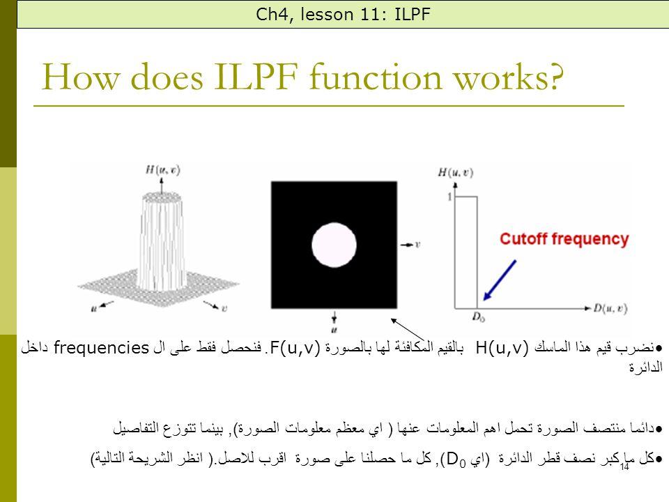 14 How does ILPF function works. نضرب قيم هذا الماسك H(u,v) بالقيم المكافئة لها بالصورة F(u,v).
