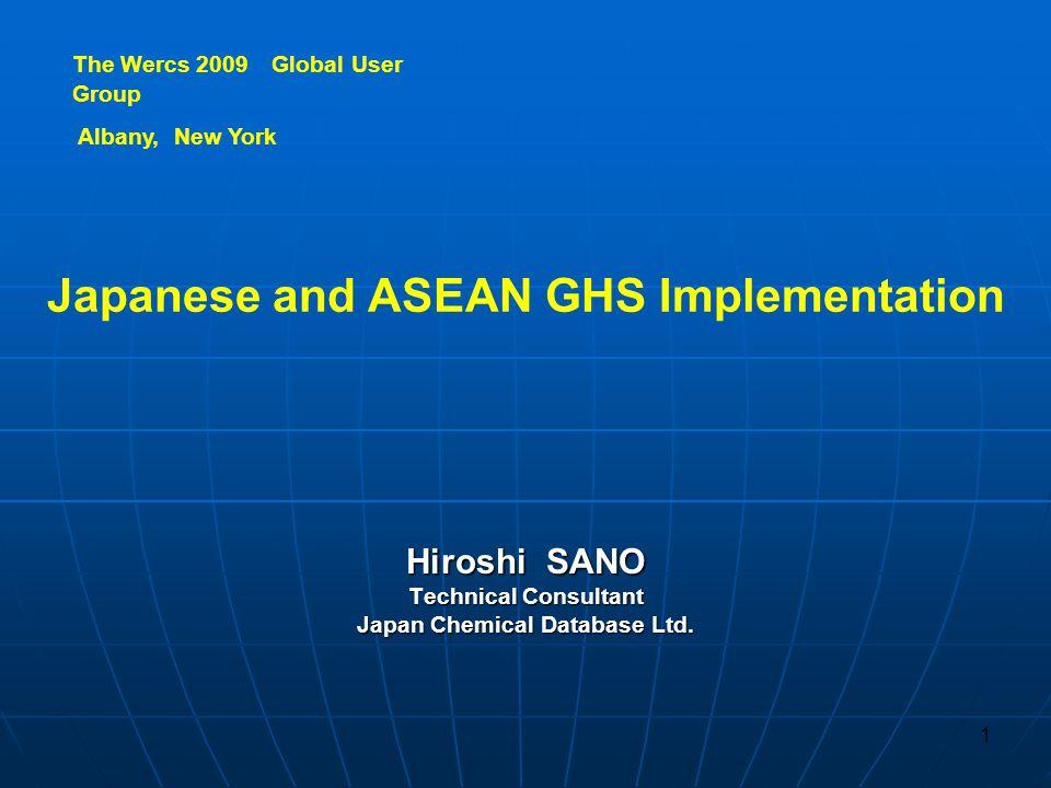 1.GHSImplementation in Japan 1. GHS Implementation in Japan 2.