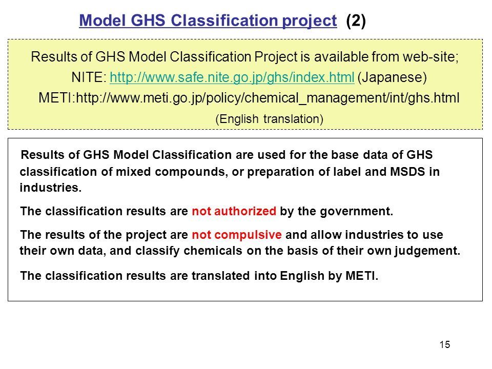 Results of GHS Model Classification are used for the base data of GHS classification of mixed compounds, or preparation of label and MSDS in industrie