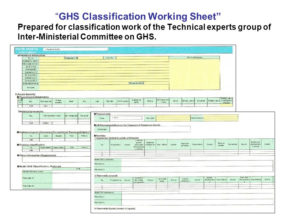 """""""GHS Classification Working Sheet"""" Prepared for classification work of the Technical experts group of Inter-Ministerial Committee on GHS."""
