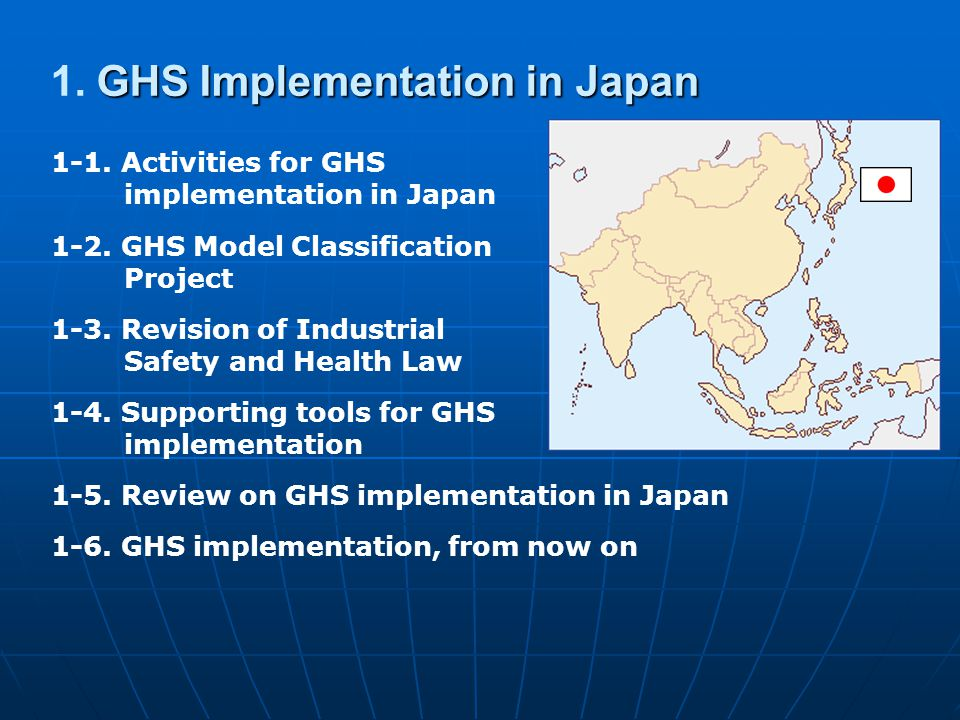 Failure 2 Started GHS application simultaneously to Single substances, and Mixtures 34 Transitional periods Japan Industrial Safety and Health Law (effective on Apr.