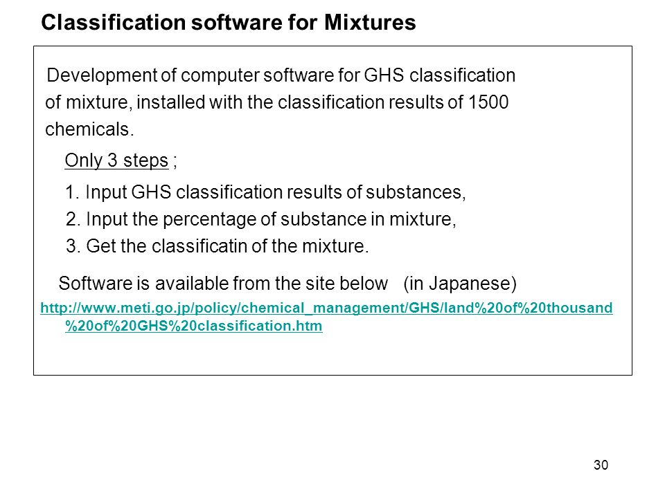 Classification software for Mixtures Development of computer software for GHS classification of mixture, installed with the classification results of
