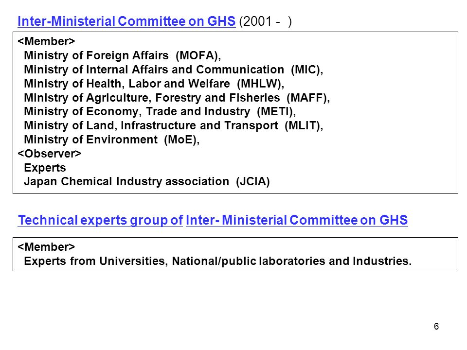 67 In 2005 the National Agency for Drug and Food Control (NADFC) took the lead to establish the National GHS Implementation Committee involving relevant bodies.