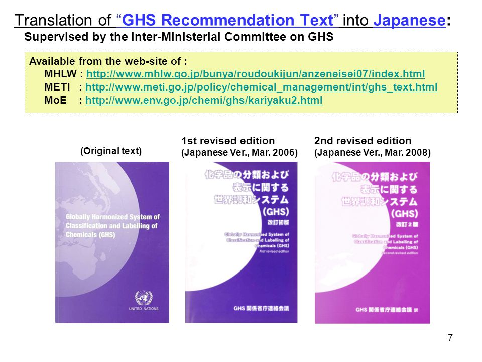 GHS Recommendation Category 1 Category 2 Category 1 ≧ 1 % *1 ≧ 1% but < 10% ≧ 10 % Category 2 -≧ 10 % *1 EU CLP Regulation Category 1 ≧ 10 % ≧ 1% but < 10% Category 2 -≧ 10 % Japan JIS Z 5272 - 2009 Category 1 ≧ 10 % ≧ 1% but < 10% Category 2 ≧ 10 % Korea MOL Category 1 ≧ 10 % ≧ 1% but < 10% Category 2 -≧ 10 % *1 : If a Category 1 or 2 specific target organ/systemic toxicant is present in the mixture as an ingredient at a concentration above 1.0 %, a SDS would be required for the mixture.