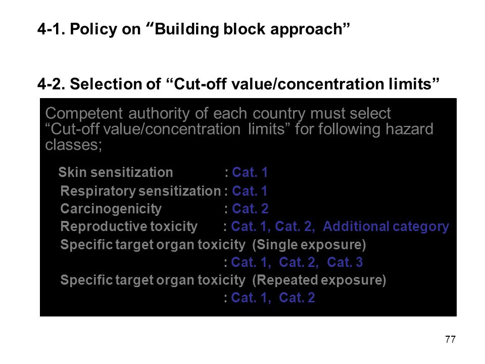 """77 Competent authority of each country must select """"Cut-off value/concentration limits"""" for following hazard classes; Skin sensitization : Cat. 1 Resp"""