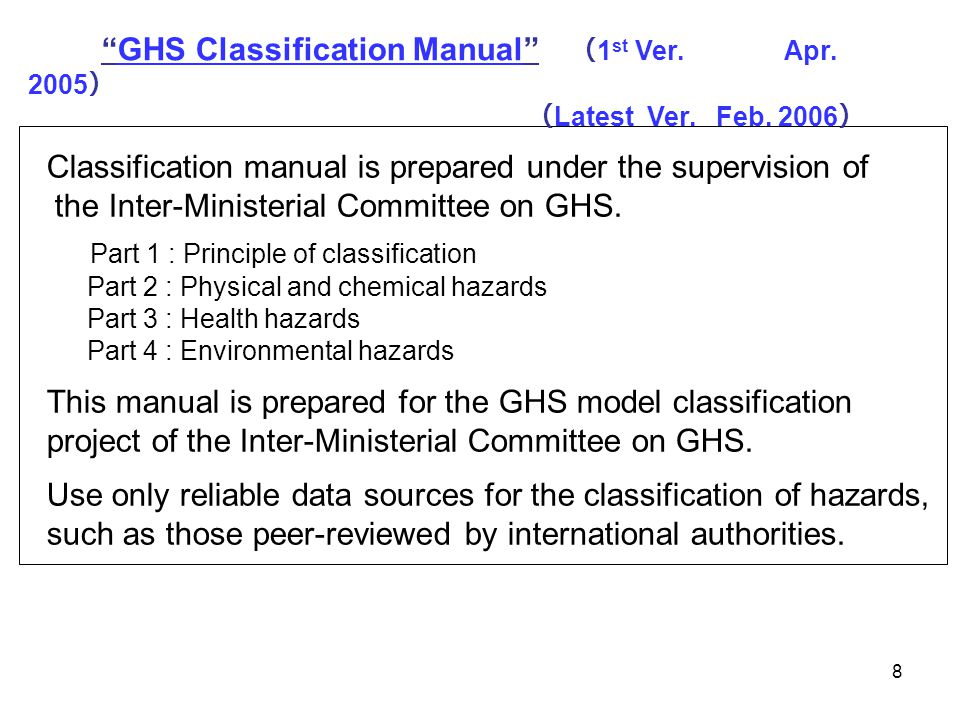 89 GHS Recommendation Category 1Category 2 Aspiration Hazard Substance Category 1 ≧ 10% *1 --- Aspiration Hazard Substance Category 2--- ≧ 10% EU CLP Regulation Category 1Category 2 Aspiration Hazard Substance Category 1 ≧ 10% *1 --- Aspiration Hazard Substance Category 2 --- Japan JIS Z 5272 - 2009 Category 1Category 2 Aspiration Hazard Substance Category 1 ≧ 10% *1 --- Aspiration Hazard Substance Category 2--- Korea MOL Category 1Category 2 Aspiration Hazard Substance Category 1 ≧ 10% *1 --- Aspiration Hazard Substance Category 2--- *1 ; A mixture which contains a total of 10 % or more of a substance or substances classified in Category 1, and has a kinematic viscosity of 20.5 mm 2 /s or less, measured at 40 o C, shall be classified in Category 1.