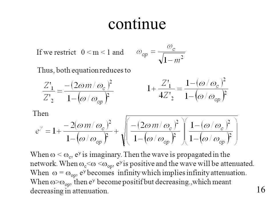 continue 16 If we restrict 0 < m < 1 and Thus, both equation reduces to Then When   op, then e  become positif but decreasing.,which meant decreasing in attenuation.