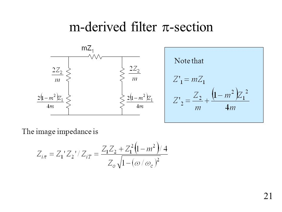 m-derived filter  -section 21 Note that The image impedance is