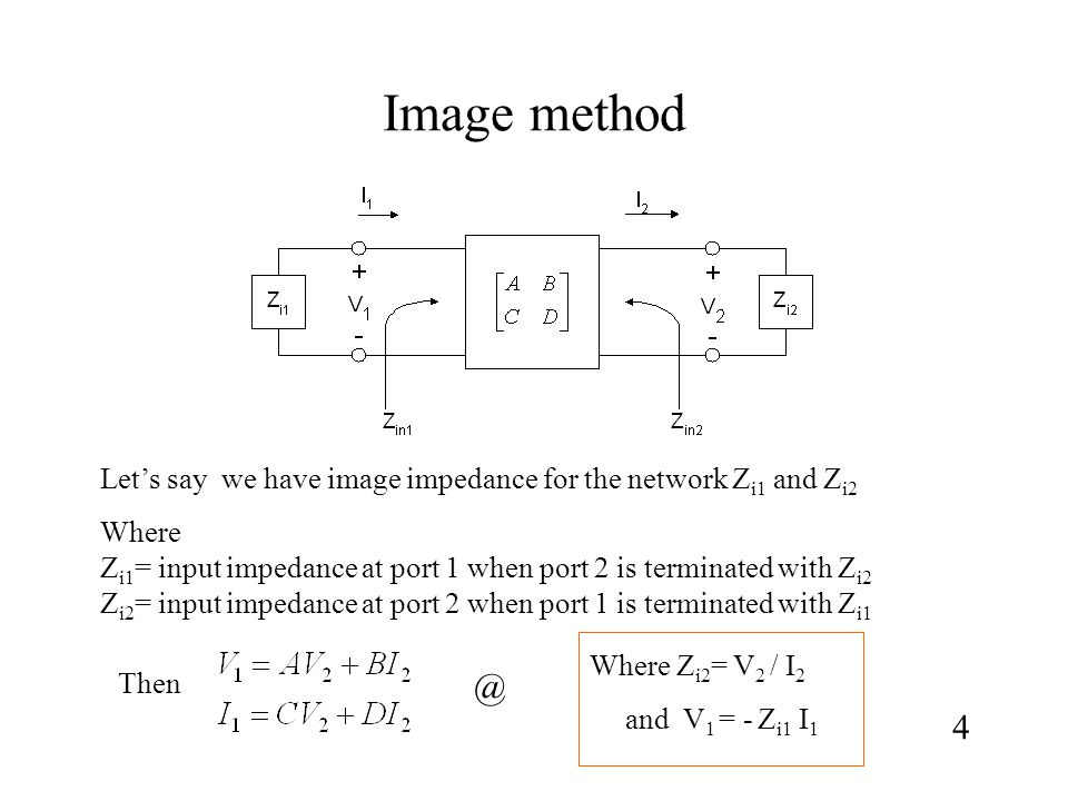 Image method Let's say we have image impedance for the network Z i1 and Z i2 Where Z i1 = input impedance at port 1 when port 2 is terminated with Z i2 Z i2 = input impedance at port 2 when port 1 is terminated with Z i1 Then 4 @ Where Z i2 = V 2 / I 2 and V 1 = - Z i1 I 1