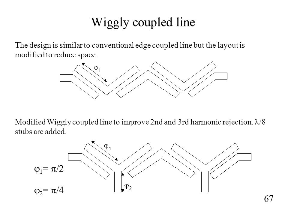 Wiggly coupled line 67  1 =  /2  2 =  /4 The design is similar to conventional edge coupled line but the layout is modified to reduce space.